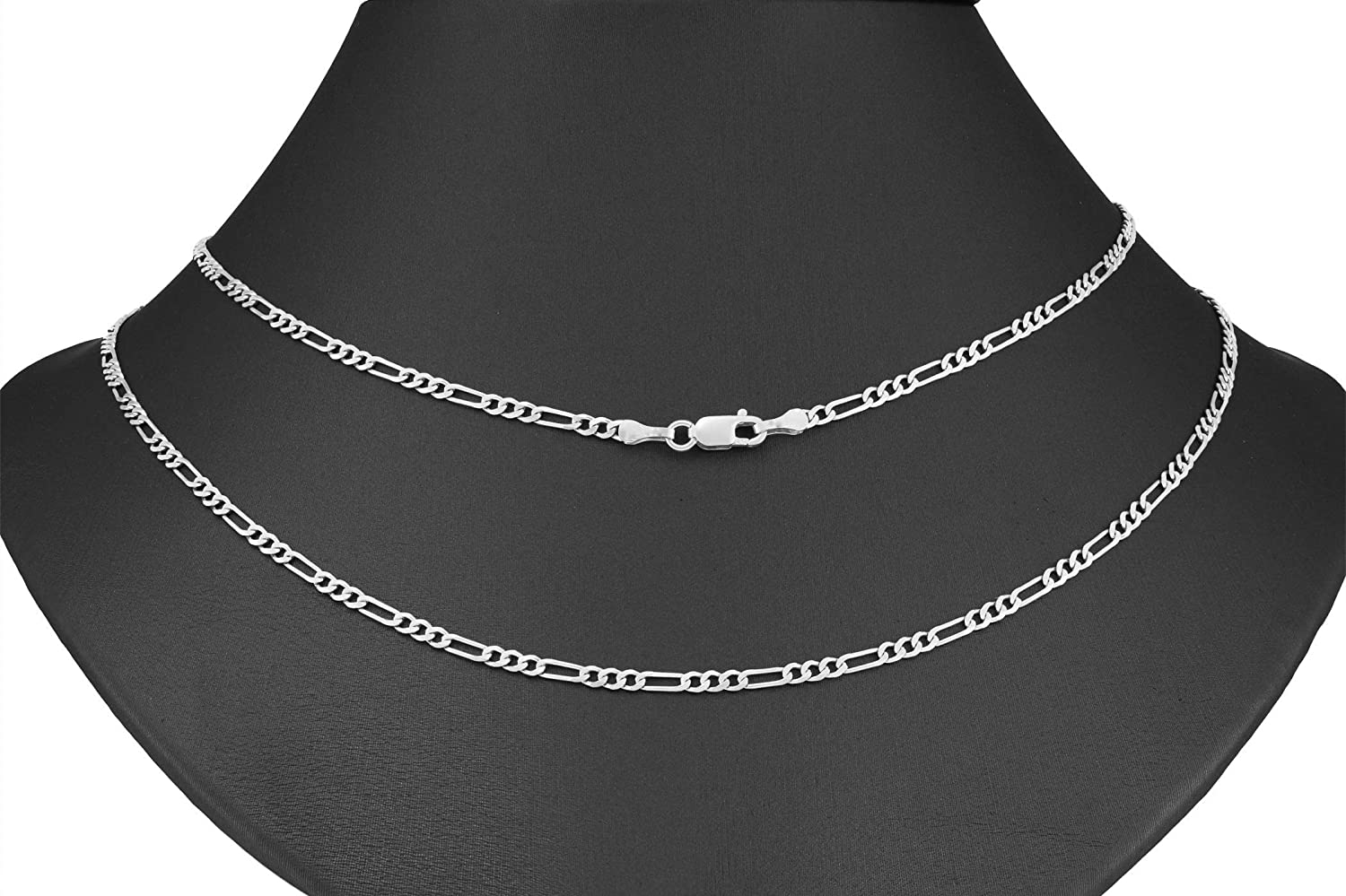 Nuragold 10k White Gold 3mm Solid Figaro Chain Link Pendant Necklace, Mens Womens Lobster Lock 16
