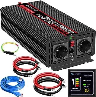 2000W KFZ Reiner Sinus Spannungswandler   Auto Wechselrichter 12v auf 230v Umwandler   Inverter Konverter mit 2 EU Steckdose und USB Port   inkl. 5 Meter Fernsteuerung   Spitzenleistung 4000 Watt