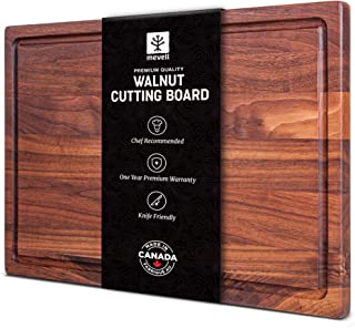 """Walnut Cutting Board by Mevell, Handmade in Canada, Wood Cutting Board for Kitchen, Reversible with Juice Groove,17x11x0.75"""""""