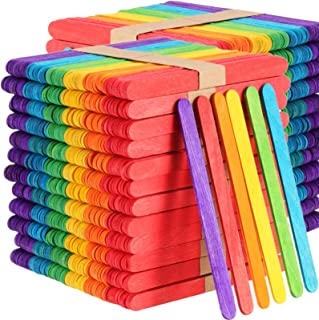 FAATCOI 1000 PCs Colored Popsicle Sticks for Crafts, Wooden Jumbo Crafts Sticks Natural Wood Sticks DIY Crafts Supplies an...