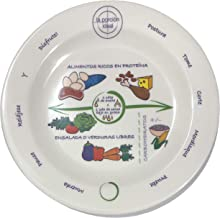 """Bariatric Portion Control Plate 8"""" Spanish Translation For Weight Loss Surgery And Monitored Eating And Portion Control Plate Educational, Visual Tool For Adults Protein, Carbohydrate And Vegetables"""