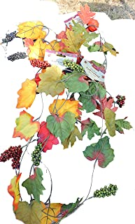 Set of 3 Reusable Autumn Garlands with Artificial Mixed Fall Color Leaves Flowers, Pinecones and Grapes - 4 Foot X 3, 12 Total!!