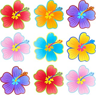 60 Pieces Summer Luau Hibiscus Flower Cutouts Hawaiian Hibiscus Flower Decorations Colorful Flowers Cutouts Bulletin Board...
