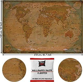 GREAT ART Foto Mural Mapa del Mundo Antiguo Atlas Vintage Paises y Continentes 210 x 140 cm - Papel Pintado 5 Piezas incluye Pasta para pegar