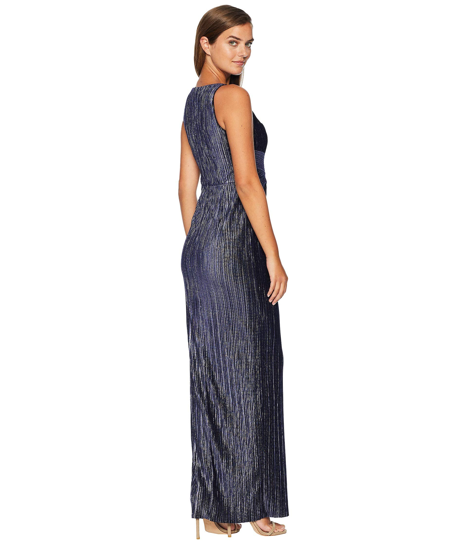Velvet Dress Navy Pleat Adrianna Papell Column zxwEgWOPq