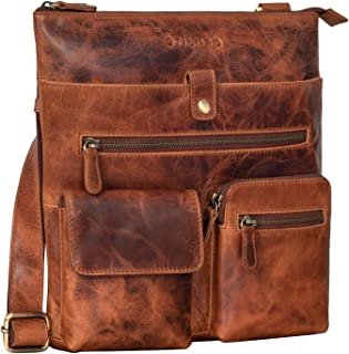 STILORD 'Jess' Vintage Umhängetasche Leder für Damen und Herren Freizeittasche Moderne Handtasche Schultertasche für DIN A...