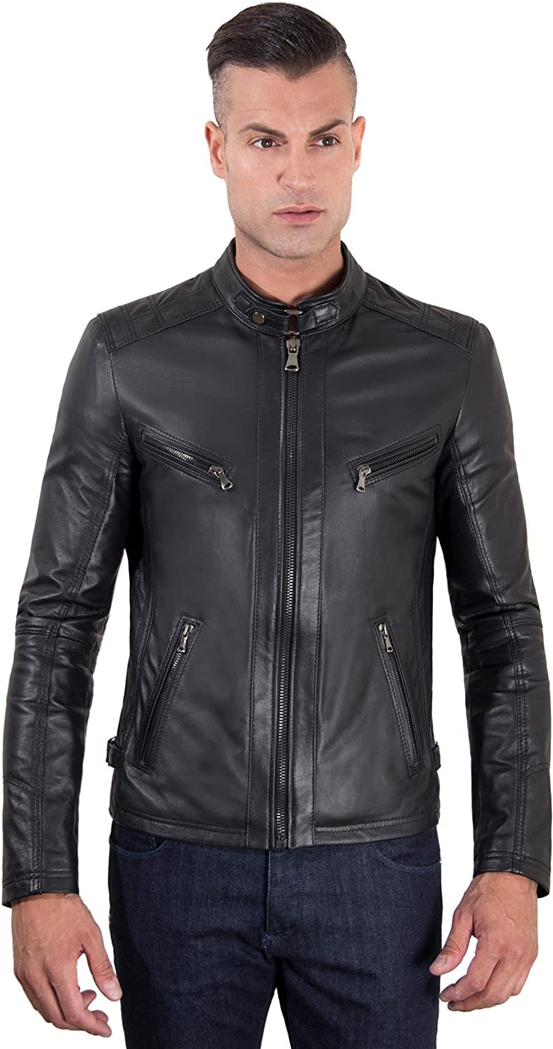 Black quilted nappa lamb leather biker jacket four pockets