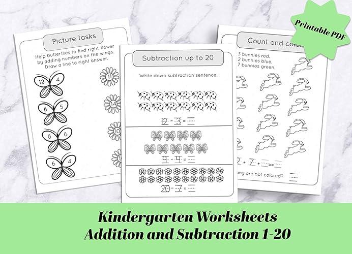Kindergarten Math Worksheets / Addition Subtraction 1-20 Picture Tasks /  Kindergarten Math Printable Pdf / Workbook / Homeschool Learning