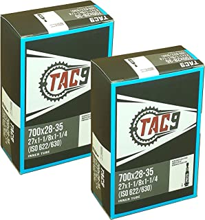 TAC 9 Tube, 700c x 28-35, (27x1-1/8-27x1-1/4) Presta Valve, 32, 48 or 60mm Valve Length. (ISO/ETRTO 622 & 630) Select Valve Length Size and 1 Pack or 2 Pack Bicycle Products!
