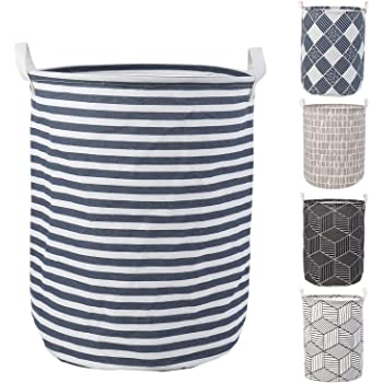 HOKIPO® Folding Laundry Basket for Clothes, Round Collapsible Storage Basket - Large 43 LTR (AR2545)