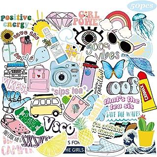 50 Pcs VSCO Stickers for Hydro Flask, Vinyl Waterproof Trendy Stickers for Water Bottles, Laptop, Phone,Girls, Teens, Kids, Women,VSCO Girl Stuff