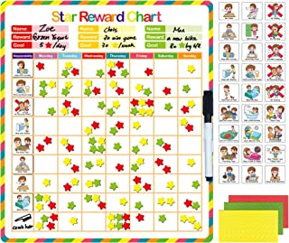 Blueprint Mart Chore Chart, Behavior Chart, Responsibility Chart, Reward Chart | Magnetic Reward System | Accommodate Up to 3 Kids