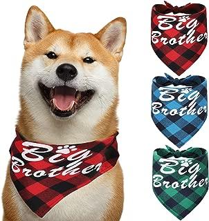 Syhood 3 Pieces Dog Bandanas Big Brother Dog Bandanas Plaid Printing Dog Kerchief Triangle Bib Scarf Accessories for Dogs Cats Pets