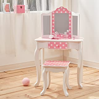 Teamson Kids TD-11670F Gisele Fashion Prints Polka Dot Wooden Vanity Table & Stool Set, Pink