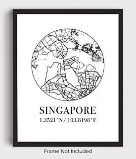 Singapore Street Map Wall Art – 11×14 Modern Abstract Black & White Aerial..