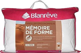 Blanrêve - Oreiller Ergonomique - en mousse à Mémoire de Forme - confort des cervicales - 40x60 cm