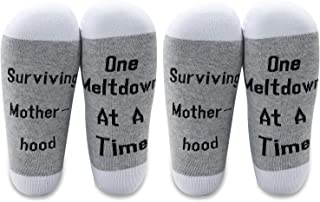 LEVLO Funny Mom Gifts Surviving Motherhood One Meltdown At A Time Cotton Socks Mothers Day Gifts