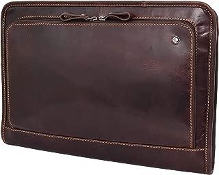 Brown Leather Folio Bag Zip Meeting Bailiff Portfolio A4 Document Underarm Case Stanford