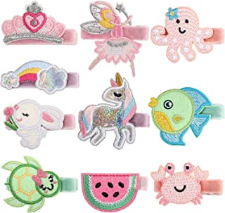 PinkSheep Baby Hair Clips Baby Hair Bows for Girls 10PCS Hair Accessories for Toddler Embroidery Cute design Fully Lined A...