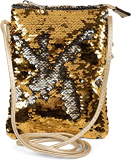 styleBREAKER Mini Bag Umhängetasche mit Wende-Pailletten, Schultertasche, Handtasche, Tasche, Damen 02012240, Farbe:Gold/S...