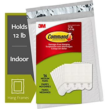 Command Picture Hanging Strips, Holds up to 12 lbs., 16 pairs (32 strips), Indoor Use, White