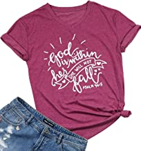 God is Within Her She Will Not Fall Christian Shirt Women Letter Print Inspirational Short Sleeve Kindness Tees Casual Tops