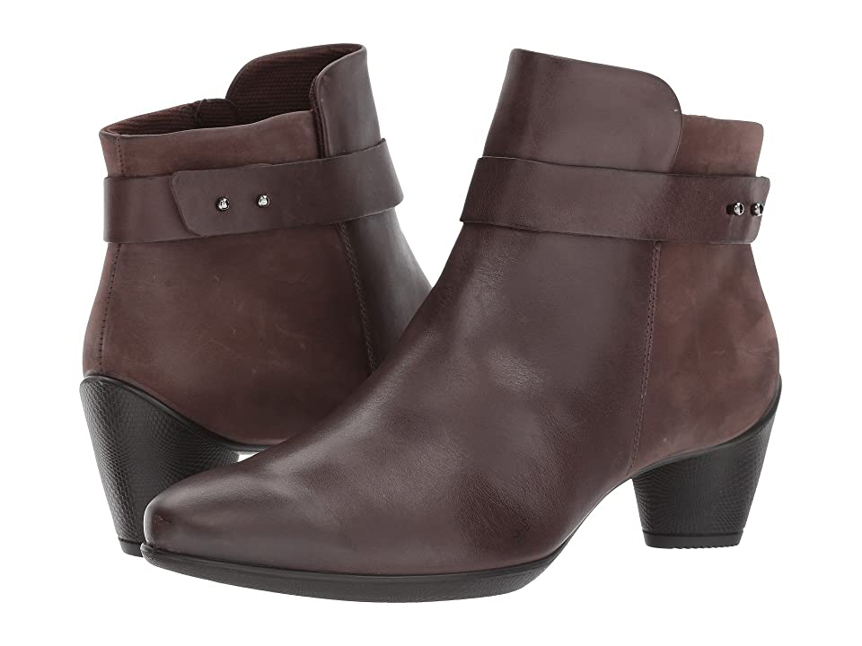 ECCO Sculptured 45 Buckle Boot (Coffee/Coffee Cow Leather/Cow Nubuck) Women