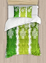 Irish Luxury 4-Piece Bedding Set,Aged Vintage Antique Figures on Green Toned Color Bands Celtic Historic Lace Image,Duvet Covers Set Duvet Cover Bed Sheet Pillow Cases,Multicolor,King Pattern