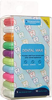 TecnidentUSA Orthodontic Wax for Braces - Unscented and Flavorless - Pack of 10 Cases - 50 Total Wax Strips