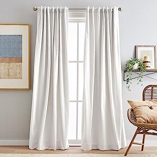 "Peri Home Sanctuary Back Tab Room Darkening Lined Window Curtain Panel Pair, 84"", White"