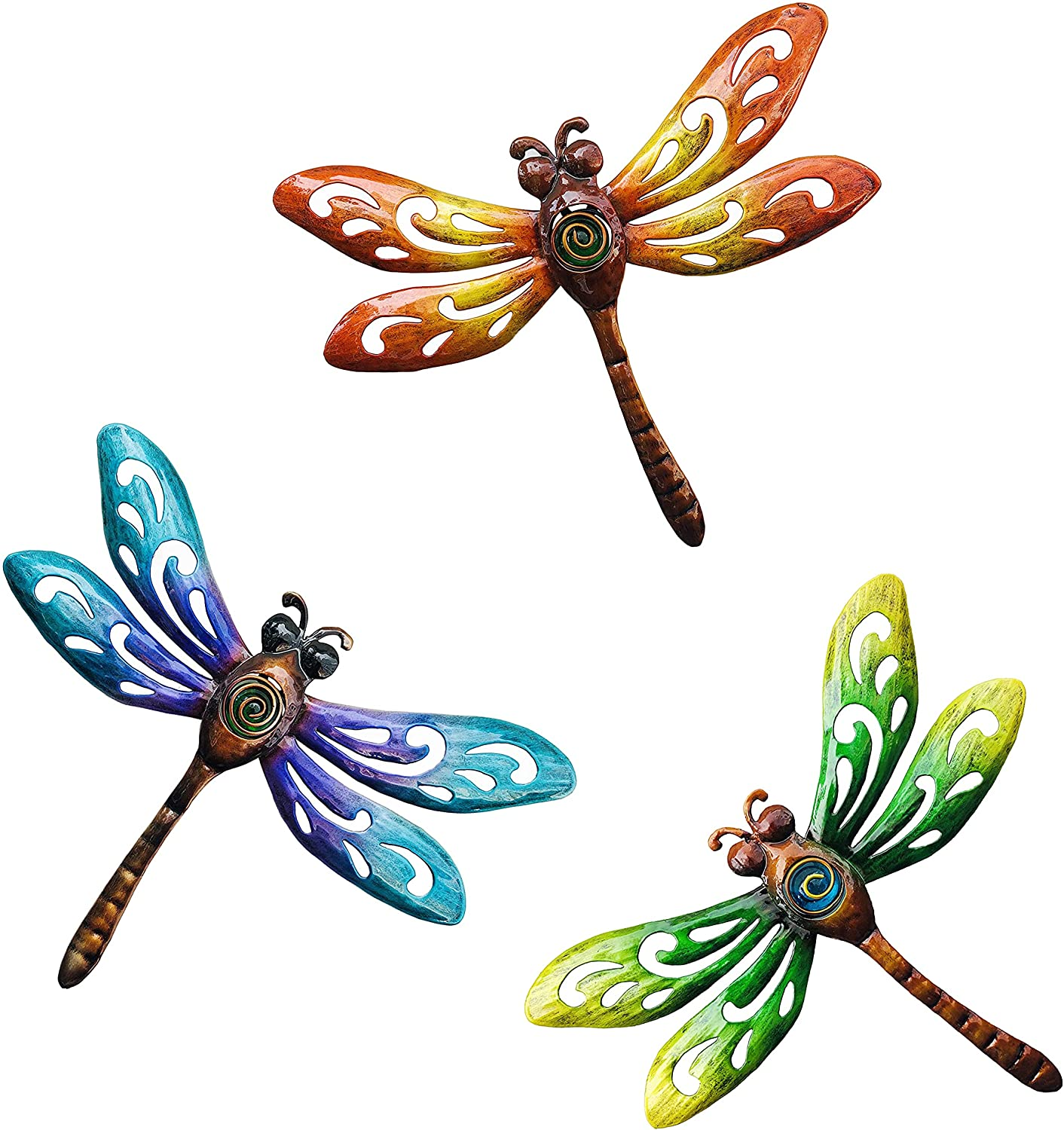 BVLFOOK Dragonfly Wall Art Decor, Metal Indoor Outdoor Fence Outside Hanging Decorations for Living Room Bedroom, 9 Inch 3 Pack, Hand-Made Vibrant Ornament Sculpture for Patio Balcony