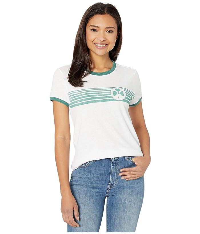 Lucky Brand  Short Sleeve Crew Neck Clover Stripes Tee (Lucky White) Womens Clothing