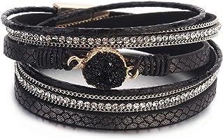 Black 2 Wrap Bracelet Boho Jewelry Cuff Bracelet Crystal Bead Bracelet Rhinestone Handmade Bangle Braided Magnetic Clasp B...