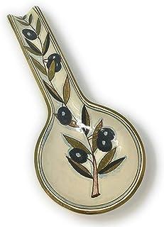 CERAMICHE D'ARTE PARRINI- Ceramica italiana artistica, posamestolo decorazione olive, dipinto a mano, made in ITALY Toscana
