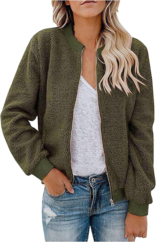 PLENTOP Women's Fleece Jacket Faux Fuzzy Solid Color Long Sleeve Casual Zip Up Bomber Coat with Pockets