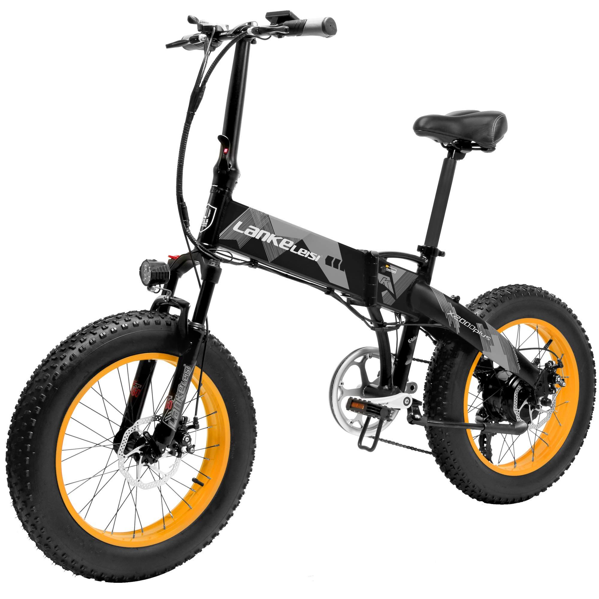 LANKELEISI X2000 7 Velocidad Bicicleta Eléctrica Plegable 48V 500W ...