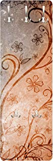in legno WTD con motivo a orchidee bianche Appendiabiti a muro design