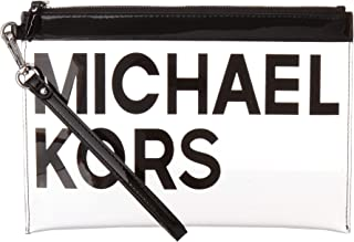 Michael Kors Women's Graphic Logo Travel Pouch Clear/Black