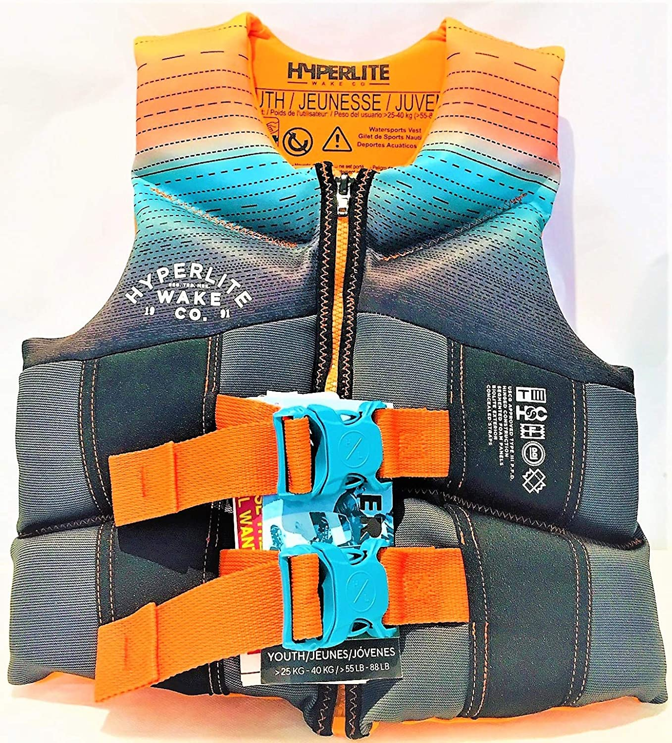 Hyperlite Wake Co Life Vest  Youth 5588 lbs.USCG TC Approved