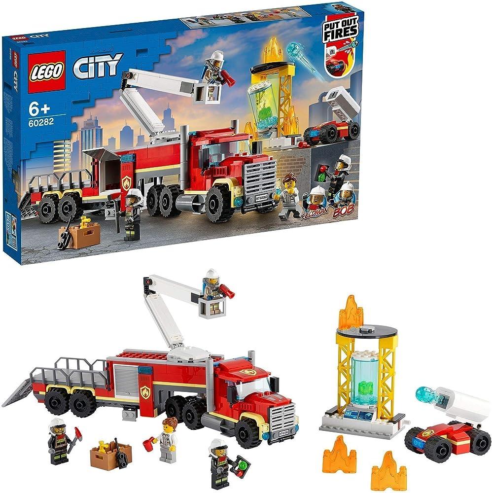 Lego, city fire unità di comando antincendio dei vigili del fuoco, giocattolo autopompa, con piattaforma aerea 60282