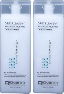 GIOVANNI COSMETICS Eco Chic Direct Leave-In Conditioner Weightless Moisture Conditioner - Proteins & Vitamins to Moisturize, Nourish and Detangle Your Hair (8.5 Ounce / 250 ml - PACK OF 2)