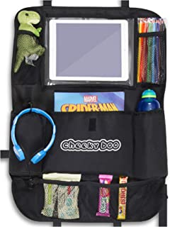 CheekyBoo – großer Auto Rücksitz Organizer für Kinder und Kleinkinder, mit 25,7 cm (10,1 Zoll) Touchscreen Halterung, iPad / Tablet Auto Aufbewahrung und Sitzschutz. Passend für alle Autos
