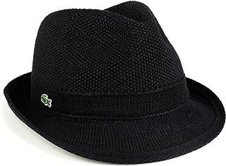 ラコステ 春夏ファッション/サマーニット 鹿の子編み/ハット 中折れハット/メンズ 帽子/黒 ブラック