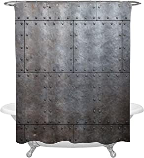 Metal Armor Plates Shower Curtain, Old Steam Punk Metalic Background Artwork Bathroom Accessories for Rustic Home Decorations, Grey, 72 W x 72 L inches Standard for Bath Tub