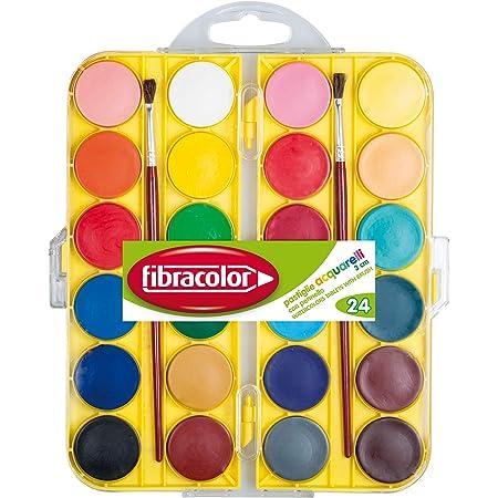 Acquerelli in Pastiglie Fibracolor, diametro 30 mm. - Scatola 24 colori assortiti