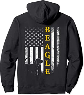 Vintage USA Beagle Dog Silhouette American Flag Funny Gift Pullover Hoodie