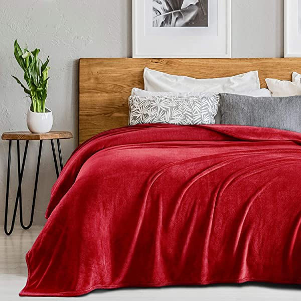 Sedona House Flannel Plush Warm Soft Fleece Bed Blanket Red Queen 90 X90