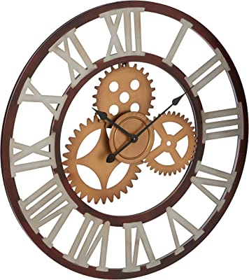 "Deco 79 22622 Metal Wall Clock, 30"", Black/White/Gold"