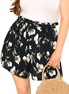 Floerns Women's Casual Plus Size Floral Shorts Elastic Waist Loose Shorts