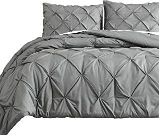 Pinch Pleat 3pc Full Size Comforter Set Pintuck Light Grey Bed Cover
